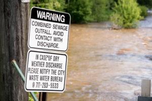 Sewage Outfall warning sign.