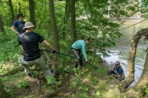 Pulling a tire up the steep river bank.